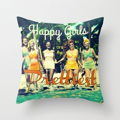 Coastal Pillow Happy Girls are the Prettiest by VintageBeach