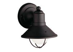 Kichler Lighting - 9021BK - One Light Outdoor Wall Mount Caged bulb, although I prefer the short gooseneck variant.