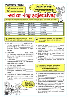 Vocabulary and grammar. Practice on participial adjectives, either ending in -ed or -ing. The list of adjectives given can be used for speaking purposes. English Teaching Materials, Teaching English Grammar, English Grammar Worksheets, Grammar And Vocabulary, English Vocabulary, Teaching Spanish, English Tips, English Fun, English Lessons