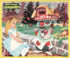Vintage Disney Alice in Wonderland: Laerdal Frame Tray Puzzle - Alice at the White Rabbit's House
