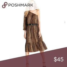 Michael Kors One Shoulder Leopard Midi Boho Dress Michael Kors, new long sleeve boho leopard dress in size Large. Can fit up to size 12-14 with stretch waist. MISSING BELT, will post more pics later today. Michael Kors Dresses Midi