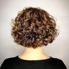 60 Most Delightful Short Wavy Hairstyles Nape-Length Curly Bob Short Permed Hair, Short Curly Bob, Haircuts For Curly Hair, Curly Hair Cuts, Curly Bob Hairstyles, Short Hair Cuts, Curly Hair Styles, Chic Hairstyles, Simple Hairstyles