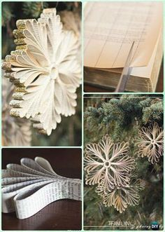 DIY Old Book Paper Glitter Snowflake Ornament Instruction- DIY Paper Christmas Tree Ornament Craft Ideas christmas snowflakes DIY Paper Christmas Tree Ornament Craft Ideas Instructions Diy Christmas Snowflakes, Diy Paper Christmas Tree, Christmas Tree Ornaments, Christmas Ideas, Outdoor Christmas, Diy Christmas Tree Decorations, Snowflake Ornaments, Snowflake Craft, Christmas Quotes