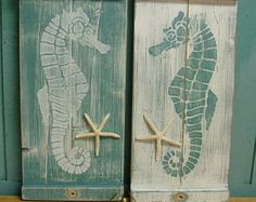 Seahorse Wall Art Wood Wooden Painting Beach House Decor - One Small Panel - Make a Headboard