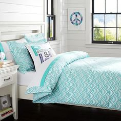 Quincy Scallop Duvet Cover + Sham, Pool #pbteen