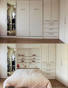 Murphy bed...like the idea of cabinet and drawers to the right.