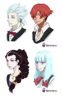 Decim, Ginti, Chiyuki y Nona - Death Parade Hair Swap by TaffyDesu on DeviantArt
