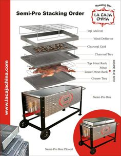 La Caja China Semi-Pro Tray Stacking instructions, and the Ash Disposal Unit assembly instructions. Bbq Pit Smoker, Barbecue Pit, Bbq Grill, Grilling, Catering Equipment, Cooking Equipment, Bbq Kitchen, Smoke Grill, Pig Roast