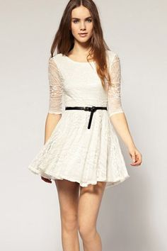 953f7575d9 white-princess-lace-dress-with-medium-sleeve Black Pleated Skirt