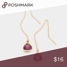 """Stone Earwire Earrings • Size : 0.3"""" X 3""""  • EARWIRE • Triangle Semi Precious Stone Threader Earrings Jewelry Earrings"""