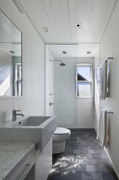 I love the floor in this bathroom, plus how it continues straight into the shower area.