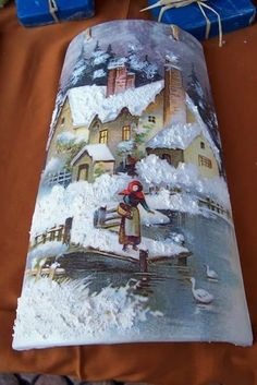 Il lago d'inverno China Painting, Tole Painting, Painting On Wood, Christmas Decoupage, Christmas C Painted Pavers, Painted Rocks, China Painting, Painting On Wood, Vintage Christmas, Christmas Crafts, Christmas Decoupage, Tole Painting Patterns, Christmas Balls Decorations