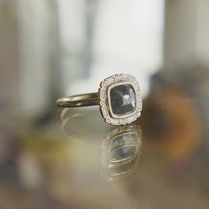 Rough Diamond and 14k Yellow Gold Halo Engagement Ring at Sarah O. Jewelry | Denver, CO