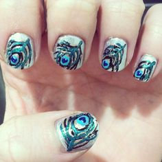 2015 Day 30: Inspired by a tutorial. Peacock feathers #nailartchallenge