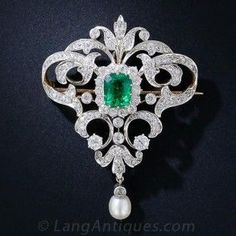 Antique Emerald and Diamond Necklace-Brooch                                                                                                                                                     More