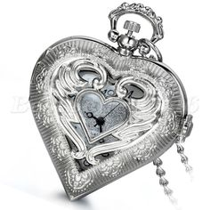 Womens Angel Wing Hollow Heart-shaped Quartz Pocket Watch Pendant Necklace Gift #Unbranded