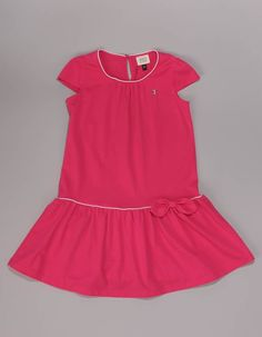 The block coloured dress in deep pink has contrast white piping to the crew neck and top of the skirt as well featuring bow detail on the skirt. Tennis Dress, Colorblock Dress, Pink Dress, Color Blocking, Rompers, Skirts, Clothing, Tops, Dresses