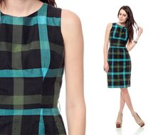 1960s Plaid Dress HOURGLASS Mad Men Black Cotton Wiggle Cocktail 60s Checkered Mini Sheath Vintage Sleeveless sixties Retro Day Dress Small via Etsy