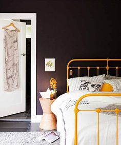 Fancy Yellow Iron Bed