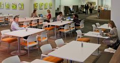 Workplace Cafe for team  members to connect and eat. Featuring Steelcase move chairs