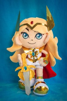 """""""This plush style is something I've always envisioned since I started making plushes and it makes me so happy to finally have made it a reality! 💙💙Of course its She-Ra. With a sword.She's tall, made of velour, fully jointed and posable She Is Gorgeous, Proud Of You, In A Heartbeat, Plushies, Cuddling, Masters, Sword, Mermaid, Happy"""