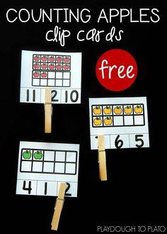 Apple Ten Frame Clip Cards – Playdough To Plato - Handprint Kindergarten Ten Frame Activities, Apple Activities, Kindergarten Math Activities, Preschool Math, Kindergarten Apples, Kindergarten Classroom, Math Games, Number Sense Kindergarten, Kids Math