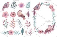 Birds and flowers by Alexandra on @creativemarket