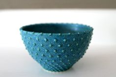 """Turquoise Blue Small Ceramic Bowl with Swiss dots / Wheel-Thrown and Sliptrailed / """"QUANTUM DOT A"""""""
