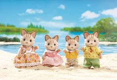 Calico Critters Sandy Cat Family and thousands more of the very best toys at Fat Brain Toys. Get acquainted with the Sandy Cat family! There's the athletic father, the artistic mother, the active daughter, and the son who love. Dolls House Figures, Sylvanian Families, Kids Store, Miniature Dolls, Cool Toys, Fur Babies, Giraffe, Teddy Bear, Cats