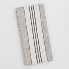 Black and Ivory Stripe Linen Kitchen Towel - v1