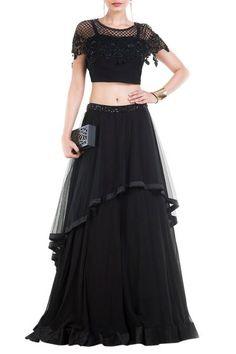 Latest Style Black Net Lehenga With Embroidered Bead Work Cape
