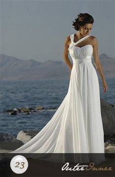 Chiffon Wedding Dress with Asymmetric Straps Style Code: 05926