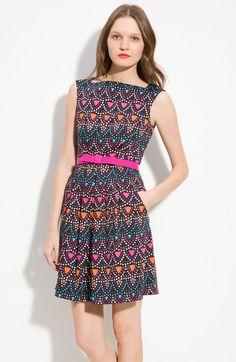 Nanette Lepore Black Cha Cha Bow Belt Print Silk Dress