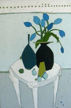 "Still Life with Blue Tulips by Karen Tusinski, 36 x 24"" (sold) | Tusinski Gallery — 2 Main Street Rockport, MA 01966 978.546.2244"