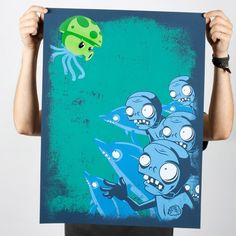 "Snazz up your secret undisclosed location with this limited-edition screen print illustrating the bravery of one little Puff-shroom in the face of angry, semi-aquatic zombies and their zombie dolphin minions. It is possible the dolphins are in charge. We'll let you decide.  Limited Edition of 300 18"" x 24"" 6-color print on 100# paper  These prints are hand-pulled on a press, each its own individual work of art. Due to the fragile nature of hand-applied screen printing, these ..."