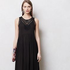 "Anthropologie macrame day dress, black maxi When we say day dress, we mean all-day dress: simple, pullover silhouettes can take you from Saturday shopping to out-to-dinner with the switch of a shoe - not to mention onto the couch, with the addition of slippers. Side pockets  Pullover styling   Rayon  Machine wash   57.75""L   Great condition! Anthropologie Dresses Maxi"