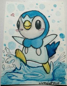 Watercolor Piplup doodle