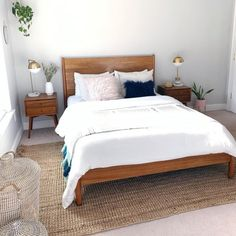 Mid-Century Bed Frame Queen, Acorn – Brown – Furniture – Beds – West Elm - home/decor Bedroom Bed, Home Decor Bedroom, Bedroom Furniture, Bed Room, West Elm Bedroom, Cheap Furniture, Master Bedroom, Furniture Stores, Furniture Ideas