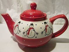 "Red Snowman Christmas Holiday Teapot 6.50"" Six Cups."