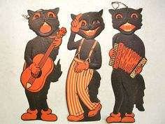 Vintage Diecut Embossed Halloween Cats/Scat Band/Beistle/Luhrs (I have the repros of these! Halloween Items, Halloween Cat, Holidays Halloween, Halloween Costumes, Vintage Love, Vintage Images, Vintage Halloween Decorations, Holiday Decorations, Fright Night