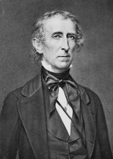 John Tyler (March 29, 1790 – January 18, 1862) was the tenth President of the United States (1841–1845). He was elected vice president on the 1840 Whig ticket with William Henry Harrison, and became president after his running mate's death in April 1841.