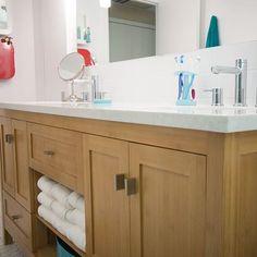 Bright bathroom refresh with fun medicine cabinets for two sweet sisters. Medicine Cabinets, Blue T, Trail, Sisters, Vanity, Bright, Interior Design, Studio, Bathroom