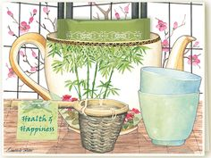Kimberly Shaw Graphics, greeting cards, teacup greeting cards, cards with teabag, Harney and Sons fine teas, tea party invitations, birthday cards, thank you, get well, congratulations, watercolor art, Made in America