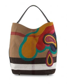 8ac74bd3b47d Burberry Ashby Medium Heart Check Canvas Hobo Bag (124505 DZD) ❤ liked on  Polyvore featuring bags