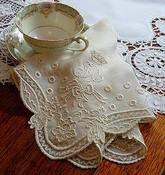 Image detail for -Em's Heart Antique Linens -Antique Linen Monogram Bridal Handkerchief