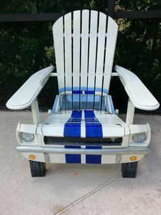 Mustang Chair - Painted - Automotive Influence / Theme for the Outdoors & Landscaping - Pins Shared By Automotive Service Garage - Sarasota, FL - http://www.srqautorepair.com/ https://www.facebook.com/AUTOREPAIRSARASOTA