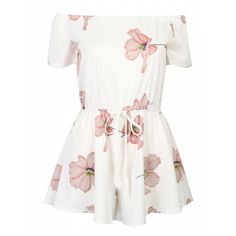 Choies White Off Shoulder Floral Tie Waist Romper Playsuit (95 GTQ) ❤ liked on Polyvore featuring jumpsuits, rompers, dresses, playsuits, tops, white, white off the shoulder romper, playsuit romper, jump suit and white rompers