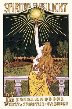 Vintage Lamps Art Nouveau Advertising Posters & Prints |  #geel #nederland #zon