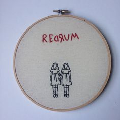 Redrum - The Shining Grady Twins - 7 Inch Hand Embroidered Wall Art