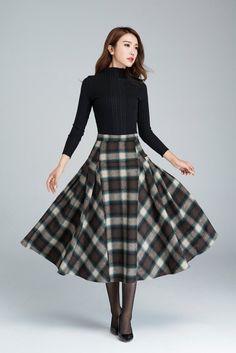 plaid skirtgrid skirt wool skirt winter skirt pleated by xiaolizi - Outfits Women Long Plaid Skirt, Plaid Wool Skirt, Plaid Skirts, Wool Skirts, Denim Skirt, Pleated Skirt, Dress Skirt, Midi Skirt, 50s Skirt